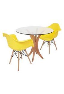 Conjunto Mesa De Jantar Tampo De Vidro 90Cm Com 2 Cadeiras Eiffel Com Braço - Amarelo