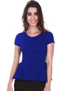 Blusa Peplum Jogabe Feminina - Feminino-Azul Royal