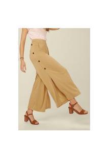Calça Pantalona Cintura Alta Com Botões - Amarelo