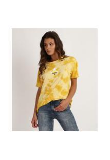 Blusa Feminina Harry Potter Estampada De Tie Dye Manga Curta Decote Redondo Amarela