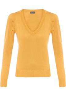 Blusa Feminina De Tricot Gola V - Amarelo
