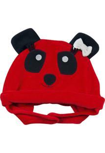 Enxoval Baby Ano Zero Touca Panda Vermelho - Kanui