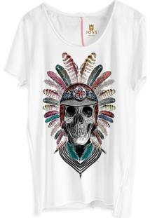 Camiseta Masculina Joss Corte A Fio Caveira Com Cocar Branco