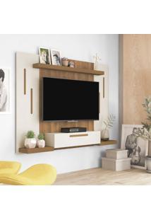 Painel Para Tv Até 50 Polegadas Cronos Off White E Pinho