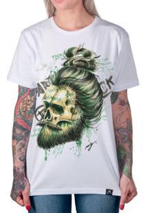 Camiseta Artseries Caveira Com Barba E Cavanhaque Samurai Colorida Branco