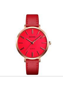 Relógio Skmei Analógico 1397 - Vermelho E Rosê