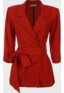 Blazer Vã©Rtice Amarraã§Ã£O Cintura Vermelho - Vermelho - Feminino - Dafiti