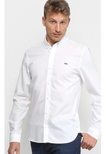 Camisa Lacoste Live Manga Longa Masculina - Masculino-Branco