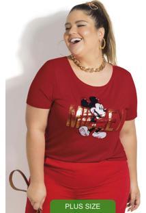 Blusa Plus Size Em Viscose Estampada Vermelho