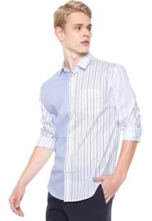Camisa Calvin Klein Slim Listras Branca/Azul