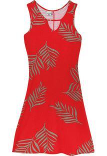 Vestido Vermelho Evasê Folhagens Em Viscose