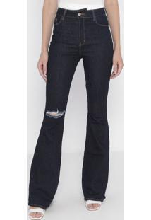 Jeans Flare Destroyed- Azul Escuro- Tritontriton