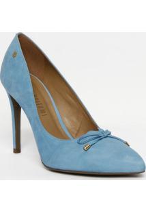 Scarpin Em Couro Com Laço - Azul Claro - Salto: 10,5Lança Perfume