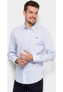 Camisa Colcci Slim Poá Masculina - Masculino-Azul+Branco