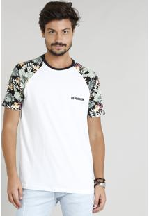 Camiseta Masculina Manga Curta Raglan Estampada Gola Careca Branca