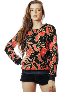 Blusa Moletom Barroco Estampado Elephunk Full Print Red - Kanui