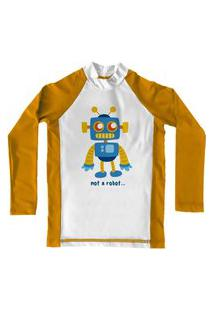 Camiseta De Lycra Comfy Robot Amarela
