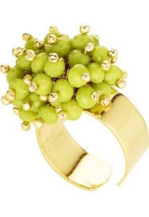 Anel Banho De Ouro Microesferas Quartzo - Feminino-Verde