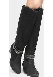 Bota Couro Over The Knee Dakota Tiras Feminina - Feminino-Preto