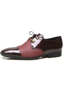 Sapato Social Calvest Em Couro Verniz Com Textura E Atacador Bordo