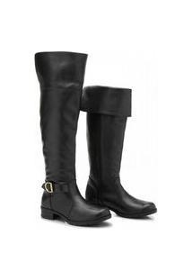 Bota Over The Knee Atron Shoes Feminina Couro Confortável Café 33 Preto