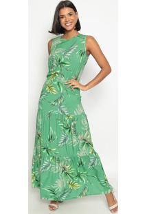 Vestido Longo Folhagem- Verde & Pretovip Reserva