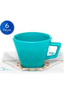 Conjunto De Xícaras Para Chá Com Pires 6 Peças Quartier Domo - Oxford - Branco / Azul