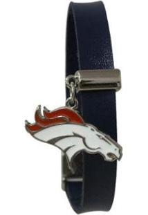 Pulseira Denver Broncos Nfl Azul C/ Pingente Metalizado - Unissex