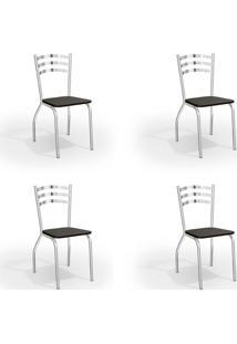 Conjunto Com 4 Cadeiras De Cozinha Portugal Cromado E Preto