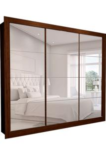 Guarda-Roupa Casal Com 3 Espelhos Helena 3 Pt 6 Gv Marrom 277 Cm