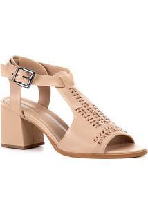 Sandália Couro Shoestock Salto Bloco Transpassada Feminina - Feminino-Nude