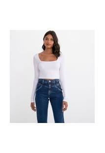Blusa Lisa Com Decote Quadrado | Blue Steel | Branco | G
