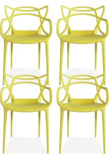 Kit 04 Cadeiras Decorativas Lyam Decor Amsterdam Amarelo.