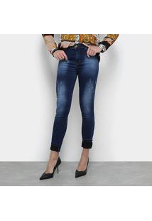 Calça Jeans Jezzian Jeans Skinny Used Feminina - Feminino-Azul
