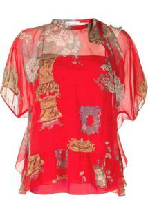 Red Valentino Blusa Estampada Com Sobreposição - Vermelho