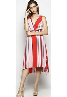 e0a55ebd7 ... Vestido Listrado Com Fendas- Vermelho & Rosa- Nemnem