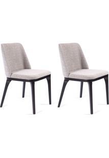 Conjunto Com 2 Cadeiras De Jantar Alice Cinza E Ebanizado