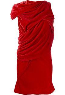 Rick Owens Vestido Com Detalhe De Nó - Vermelho