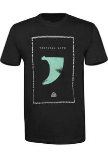 Camiseta Reef Masculina Kell - Masculino-Preto+Verde Claro