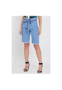 Bermuda Jeans Com Botões Encapados Barra Desfiada E Cinto Faixa Azul