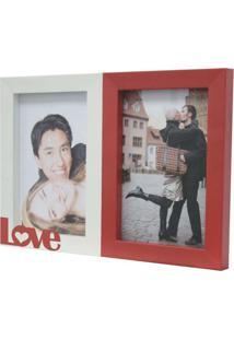 Porta-Retrato Love 2 I Fotos 10X15Cm Branco, Vermelho Kapos