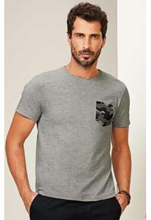 Camiseta Cinza Claro Slim Com Bolso Malwee