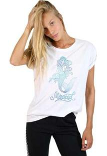 Camiseta Joss Estampada Mermaid Ceu Feminina - Feminino-Branco