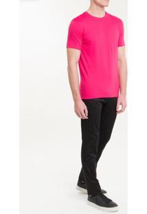 Camiseta Slim Careca Flame Calvin Klein - Rosa Escuro - P