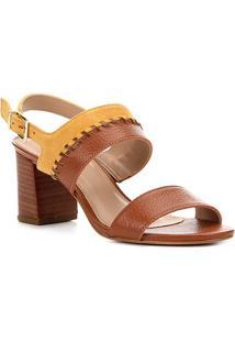 Sandália Couro Shoestock Salto Bloco Feminina - Feminino-Caramelo