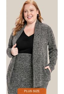 Casaco Plus Size Com Bolso Preto