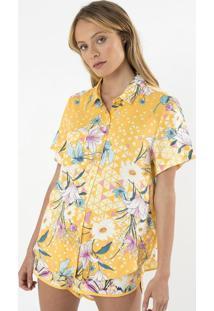 Camisa Floral Com Bolso Frontal