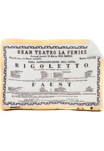 Fornasetti Bandeja Cinza Em Porcelana Modelo 'Rigoletto'. - Grey