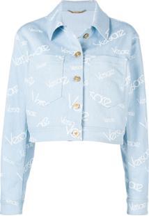 Versace Jaqueta Jeans Com Logo - Azul