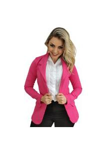 Blazer Feminino Alongado Em Poliamida Pink